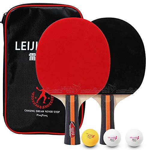 Lixada Tenis de Mesa Juego de 2 Jugadores 2 Raquetas de Palos de Tenis de Mesa y 3 Pelotas de Ping Pong con Funda (Modelo 3—con Maleta)