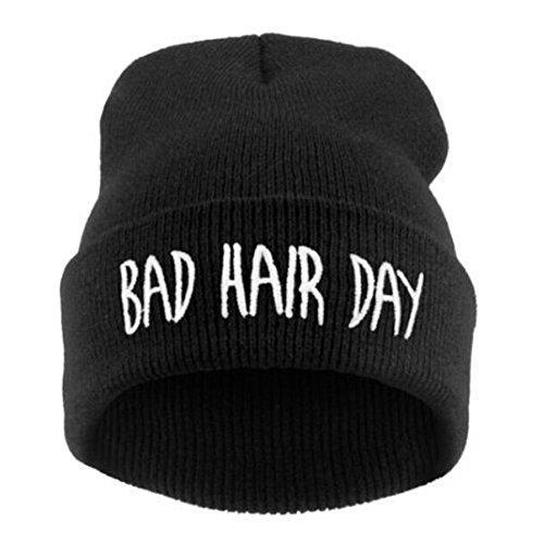 Preisvergleich Produktbild Elegant umwerfende Unisex Warm Winter Mode Bad Hair Day Wrap Head Hat Hip-Hop Strickmütze Schwarz