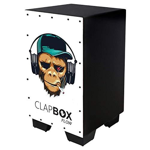 Clapbox Flow Graphic Cajon CB-FLW8, Walnut wood (H:50 W:30 L:30) - 3 Internal Snares, Black (Smoking Monkey)