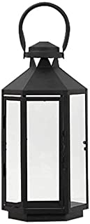 KMYX Glass Wrought Iron Landing Lamp Storm Lantern Candlestick  Wedding Props Home Decorations Modern European Outdoor Patio Candle Holders (Size : S)