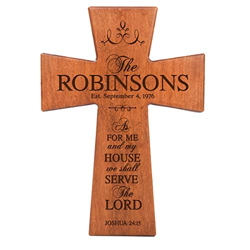 LifeSong Milestones As for Me and My House Cherry Wood Wall Cross Personalized Housewarming Gift (12x17)