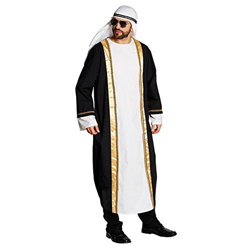 Kostüm Araber Tunika schwarz-weiß Größe L, Turban Scheich Sultan Ölscheich Tuareg Beduine (Large)