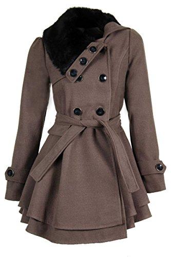 Laeticia Dreams Damen Mantel Jacke Winterjacke Mantel mit Fellkragen S M L XL XXL, Farbe:Fango;Größe:40