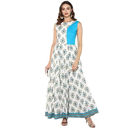 Indian Virasat Off White Colored Printed Coton Long Anarka