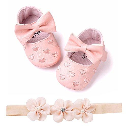 Bébé Fille Chaussures Ballerines Dentelle+Bandeau Fleur Ensemble Anniversaire Baptême Cérémonie Bambin bebe 0-18mois Semelle Souple Anti-dérapant Princesse Chaussures (13(12-18mois), Coeur B)