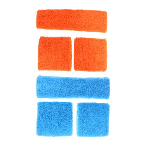 ABOOFAN Conjunto de Banda Absorbente de Sudor de Gimnasio 6 en 1 Pulseras de protección Deportiva Diadema para Mujeres Hombres (Naranja Azul Cielo)