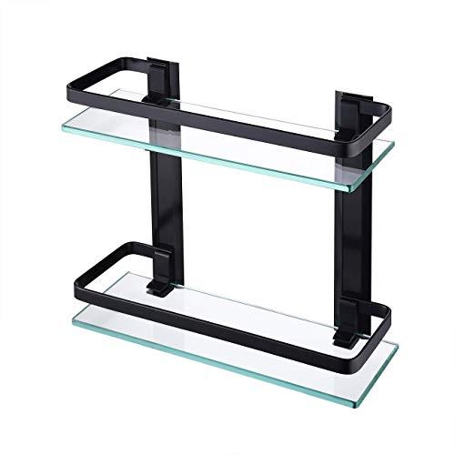KES Glasregal Wandregal Duschablage 8mm Regal Glas Badezimmer Duschregal 2 Ablagen Doppel...