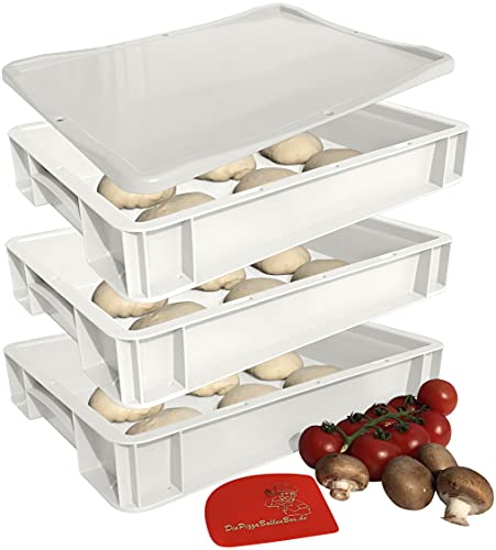 3 Pizzaballenboxen mit Deckel 30x40 cm – 7 cm hoch, weiße Pizza Boxen als Gärbehälter für Teiglinge (3 Boxen und 1 Deckel) mit Teigschaber