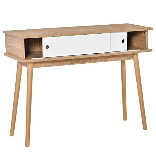 HOMCOM Mueble Recibidor Mesa de Consola con Doble Puerta Corredera Mesa Auxiliar Moderna para Entrada Pasillo Salón 100x35x75 cm Madera Natural