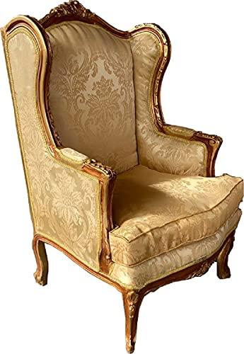 Casa Padrino sillón Barroco Crema/marrón/Oro - Sillón de salón de Estilo Antiguo Hecho a Mano con patrón Elegante - Muebles de salón barrocos