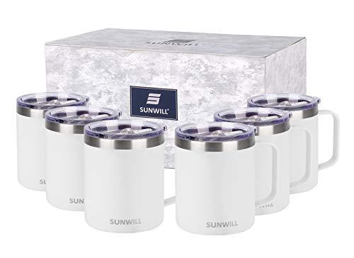 SUNWILL Juego de tazas de café de 14 onzas, aisladas al vacío con tapa, vaso de viaje de acero inoxidable de doble pared, taza de café al aire libre, con recubrimiento de polvo blanco 6 unidades