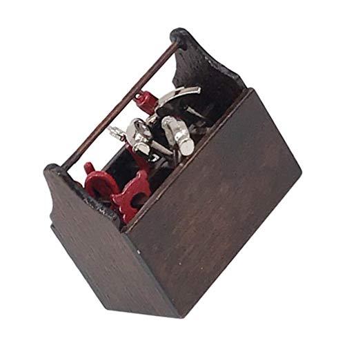 Homoyoyo 1: 12 Cajas de Herramientas en Miniatura 8 Herramientas de Metal Juego de Herramientas para Casa de Muñecas Mini Juego de Herramientas Multiherramienta para Reparación de Casa de