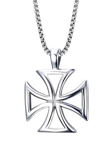 Vnox Uomo in Acciaio Inox I Cavalieri Templari Hollow Croce Collana Pendente d'Argento,la Catena Libera