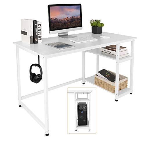 AuAg Schreibtisch PC Tisch 120cm x 60cm Bürotisch Computertisch mit 2 Regale Arbeitstisch Holz Büromöbel fürs Büro, Gaming Tisch mit Metall Hake, Einfache Montage, Modern Office Desk (Weiß, 47 inch)