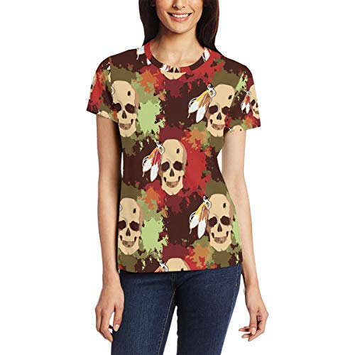 Indiase stam Skeleton patroon vrouwen casual T-shirt korte mouw tuniek tops ronde hals blouse Comfy