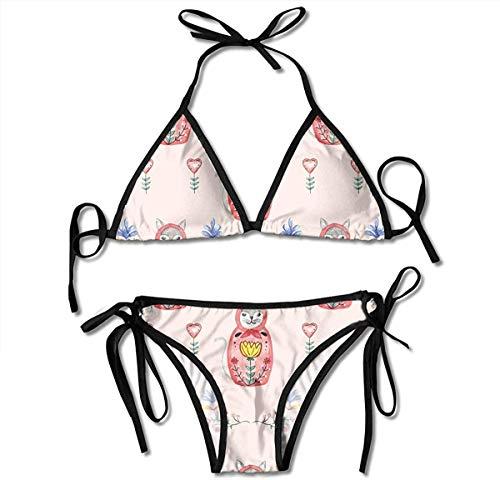 Russian Woodland Cat Bikini Women's Summer Swimwear Triangle Top Bikinis Swimsuit Sexy 2-Piece Set Black