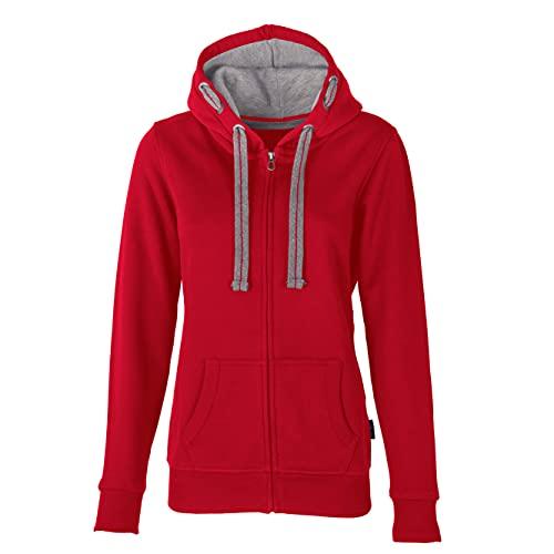 HRM Damen Hooded Jacket, rot, Gr. 4XL I Premium Kapuzenjacke Damen mit Kontrast-Innenfutter I Basic Hoodie mit Reißverschluss I Zip Hoodie I Hochwertige & nachhaltige Damen-Oberteile