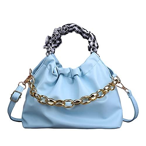 Bolso de mano de piel sintética de poliuretano, con cordón, para mujer, estilo retro, con cadena, bolso de hombro para mujer, pequeño, de piel, con asa de perlas para verano, una fiesta.