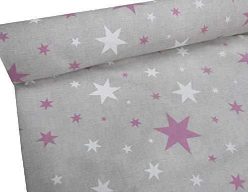 Confección Saymi Metraje 0,50 MTS Tejido loneta Estampada Ref. Estrella Lila, con Ancho 2,80 MTS.