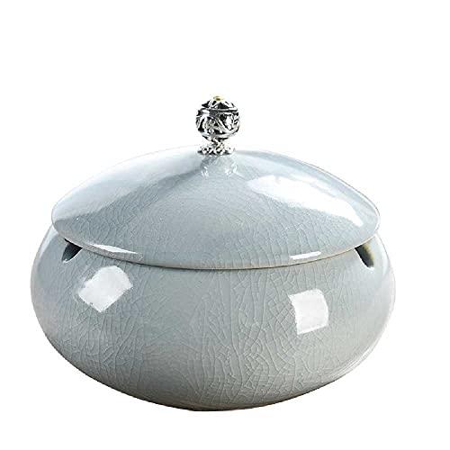 NC Cenicero de cerámica para el hogar, decoración de la personalidad, sala de estar, oficina, cenicero con tapa, cenicero blanco