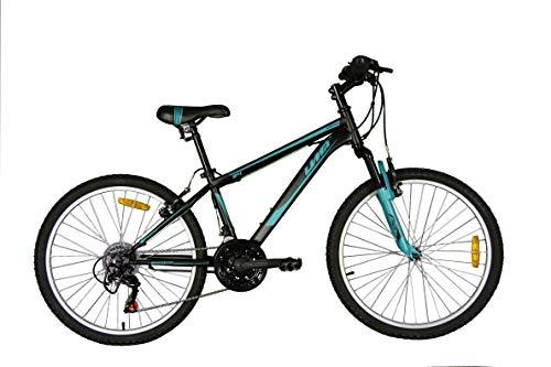 Umit 24 Pulgadas Bicicleta XR-240, Partir de 9 años, con Cambio Shimano y Suspension Delantera, Unisex niños, Negra/Azul