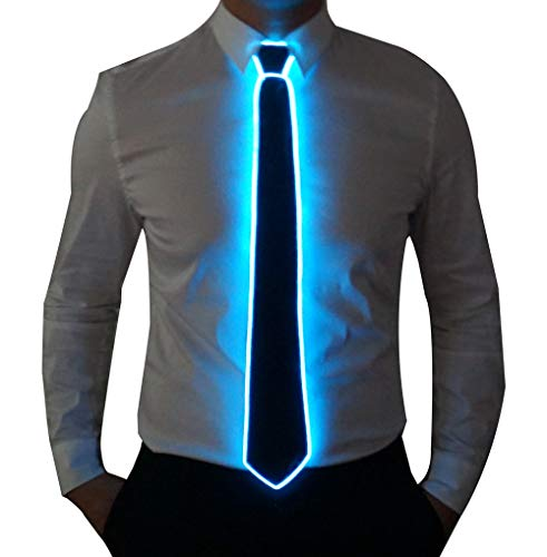 SATUMIKO Burning Man Light Up Fanny Ties Novelty Necktie For Men LED Light Up Ties Costume Accessory (Blue-Micro Solid Tie)