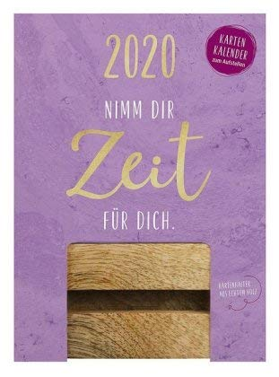 Nimm dir Zeit für dich - Karten-Kalender 2020 - Groh-Verlag - Typokalender - Aufstellkalender mit Karten und Holzaufsteller - Tischkalender - 11 cm x 15 cm