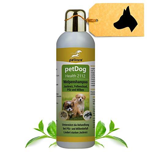 Peticare Welpen-Shampoo gegen Juckreiz Milben Pilz Flöhe - Speziell sensitiv für Welpen und Junge Hunde, p-H neutral Wert 7,3 stoppt Fell-Geruch, pflanzliche Inhaltsstoffe - petDog Health 2112