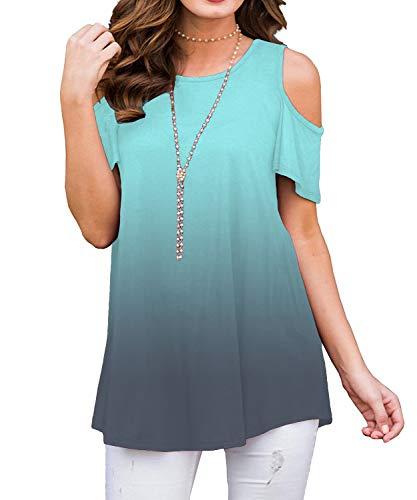 DEMO SHOW Damen Tunika Tops Kurzarm Freizeit Kalte Schulter Farbverlauf Locker Shirts Bluse T Shirt (Farbverlauf Grün 01, XL)
