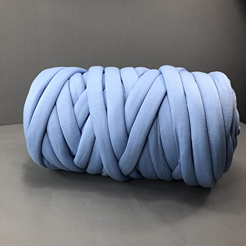 EASTSURE Chunky Braid Cotton Yarn Supre Large for Arm Knitting DIY Handmade Blankets Machine Washable,Denim Blue,1.1LB