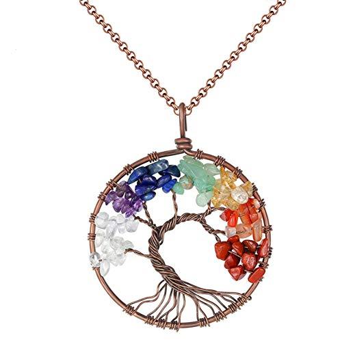 Extrbici - Collana con ciondolo a forma di albero della vita, con cristalli colorati