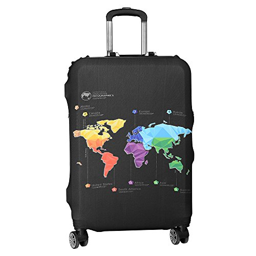 Asiv Elastic waterproof and dustproof travel luggage suitcase protective cover with trolley baggage protector M (22-24inch) -Travel Map