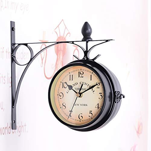 UNHO Reloj de Pared Vintage de Doble Cara Reloj Colgante Pared de Estilo Retro para Decoración Sala de Estar Habitación Hotel Jardín Estación de Tren