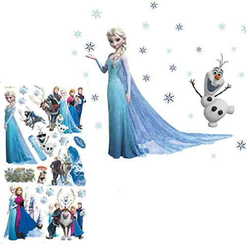 Kibi 2 PCS Wandaufkleber Babyzimmer Eiskönigin (Frozen) Wandsticker Frozen Disney für Kinderzimmer Living Room Removable Prinzessin Elsa Wandtattoo Kinderzimmer Frozen Olaf