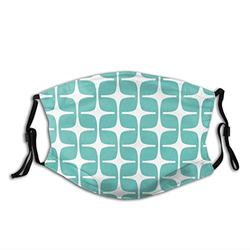 Mei-ltd Mod Rectangles Pattern Aqua Face Ma_sk Washable Reusable Adult Face Cover with Adjustable Nose Wire and Ear Loops