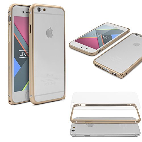 Urcover® Bumper kompatibel mit Apple iPhone 6 / 6s, Aluminium Bumper mit Transparenter Rückseite hohe Qualität Alu Hülle Schutz Hülle Cover Etui - Champagner Gold