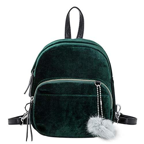 VHVCX Einfache Designer Rucksäcke weichen Frauen Samt-Rucksack-Schule-Beutel für Teenager-Mädchen-Frauen Kleine Reise Rucksack Mujer Bolsos, Grün