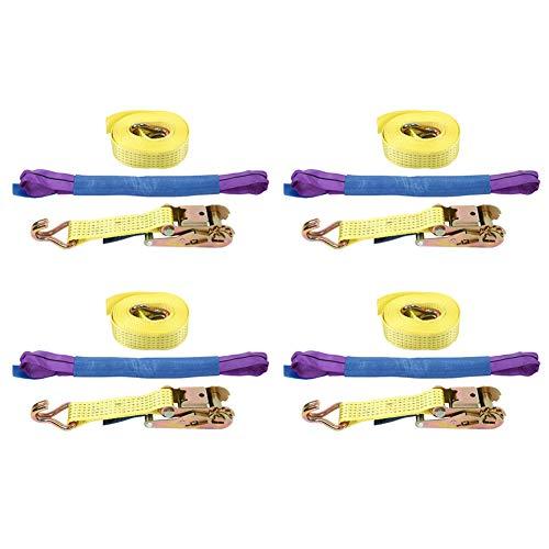 Sjorriem, 4 stuks, spanbanden met ratel, 5 m x 5 cm, verzinkt handvat, veiligheidshaken, draagkracht 5 tonen, voor auto, vrachtwagen, aanhanger, motorfiets, blauw