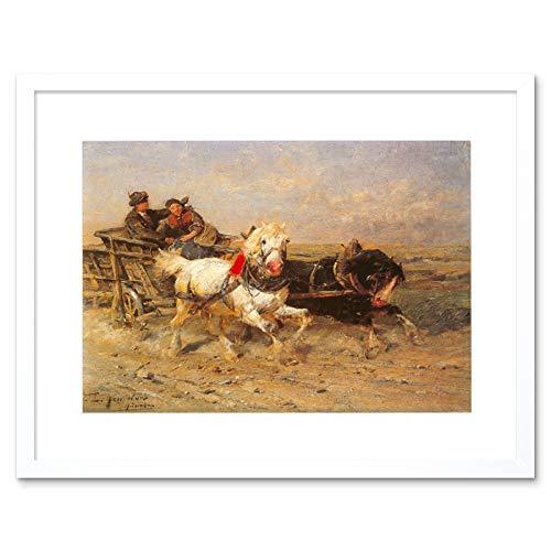Wee Blue Coo Schilderij Exterieur Studie Paard Eckenfelder Grappige Ride Omlijst Muur Art Print