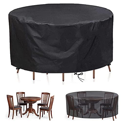 Funda para Muebles de Jardín Impermeable Redonda,Funda Protectora para Sofá Resistente al Viento, Anti-UV, Tela Oxford 420D Resistente Patio Cubierta de Mesa para Muebles-Negro_80x50cm