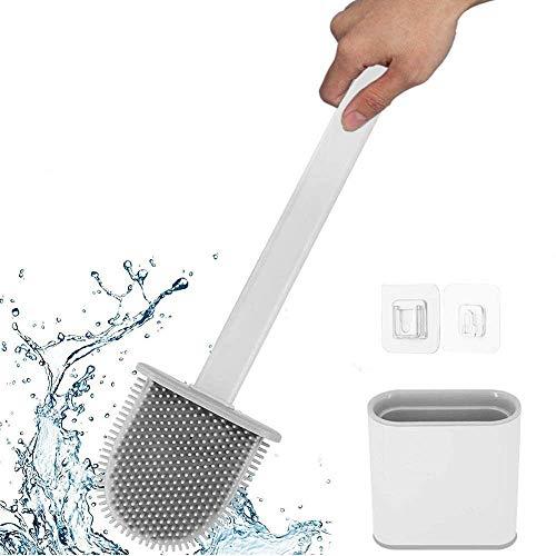 Escobilla WC Cepillo y Soporte para Inodoro de Silicona, Juego de Portaescobillas para Inodoro para baño Rejilla de Secado Rápido Escobilla de Baño Suave para Baño de Pared/Vertical, Blanca