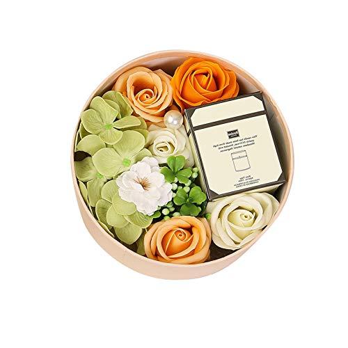 runnerequipment Vela perfumada, regalo de Año Nuevo y Día de San Valentín, regalo creativo, jabón de aromaterapia, flor eterna, rosa pequeña, caja redonda para el hogar y las mujeres