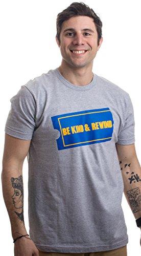 Ann Arbor T-shirt Co. Be Kind & Rewind | Funny Retro 90s Party Nostalgia 1990s Pop Culture VHS T-Shirt-(Adult,L)