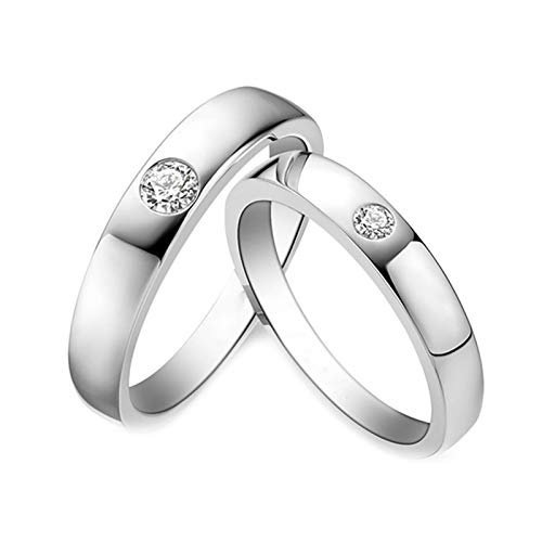 Daesar 18K White Gold Rings Eternity Engagement Ring for Her and Him Couple Rings Gold Simple Round Engagement Ring Set Diamond White Gold Ring Women Size L 1/2 & Men Size W 1/2