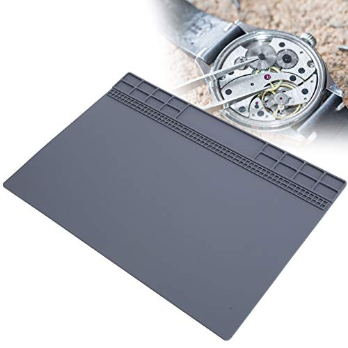 Table Place Mats, Rubber Mat Non-Slip Watch Repair Table Pad Watchmaker Maintenance Accessory Watch repair Desk Pad Watchmaker Repair Tool Patch Gray for Office and Home