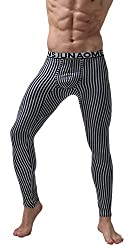 Men's full-length thermal long johns. Striped pattern.