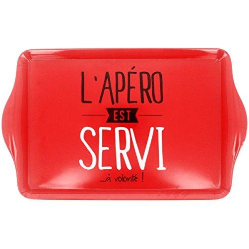 Promobo - Plateau De Service En Mélamine Inscription L'apéro Est Servi Rouge 37 x 23cm