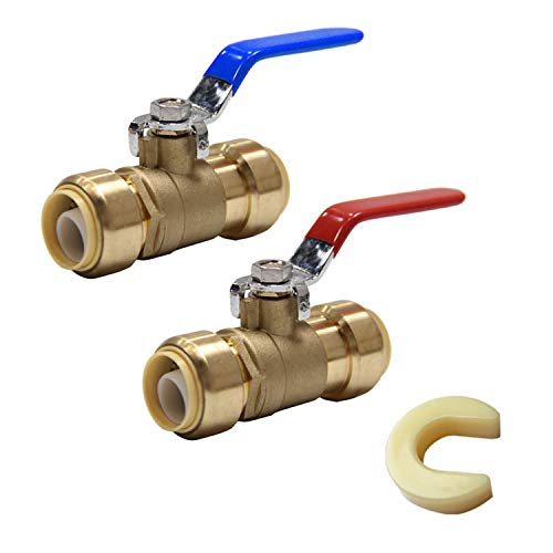 (Pack of 2) EFIELD Höger 1/2 Inch Push-Fit Full Port Ball Valve HOT AND COLD With A Dsicoonect Clip, Lead Free Brass UPC Certified-2 Pieces