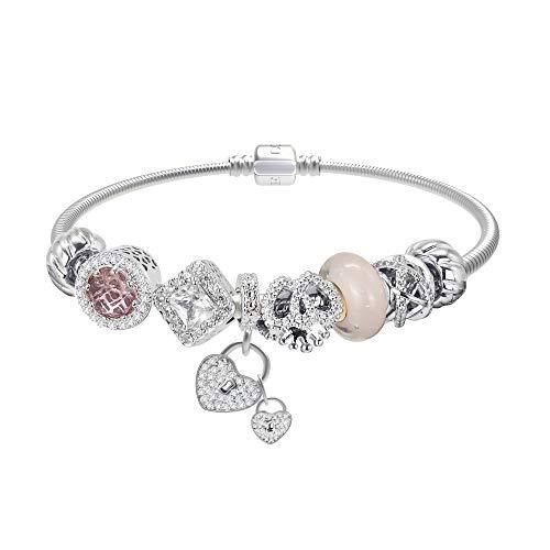 Joeyan Bracciale Charm Cuore Ragazze Braccialetto Beads Vetro Cristallo Rosa