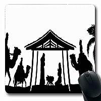 マウスパッド長方形7.9x9.8ブルーシルエット家族クリスマス砂漠シーン赤ちゃん男性スターパーム休日スリーマネージャー出現動物滑り止めラバーマウスパッドオフィスコンピューターラップトップゲームマット